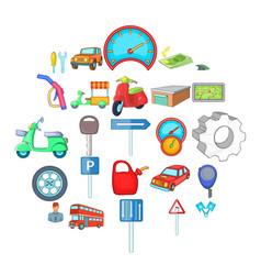motor car icons set cartoon style vector image