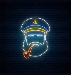 Neon old sailor captain with tobacco pipe hipster vector