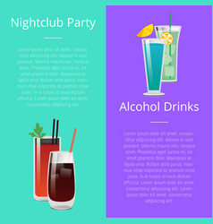 Nightclub party alcohol drinks invitation poster vector