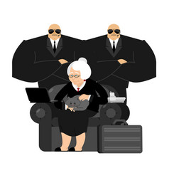 old businesswoman business grandmother laptop and vector image