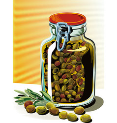 Olives and a glass jar full of pickled olives vector