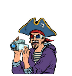 pirate shoots and watches adventure movies vector image