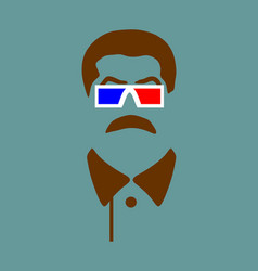 Portrait of joseph stalin stereo glasses vector