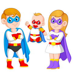 posing superheroes family vector image