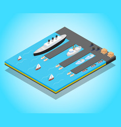 Quay concept banner isometric style vector