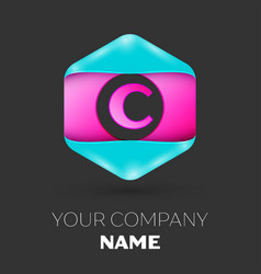 realistic letter c logo in colorful hexagonal vector image