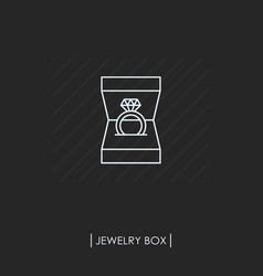 ring with diamond in box outline icon isolated vector image