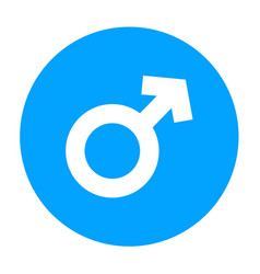 round male symbol in blue color flat design style vector image