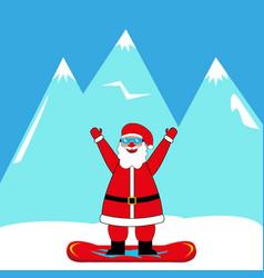 santa claus snowboarder vector image