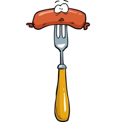 sausage on a fork vector image