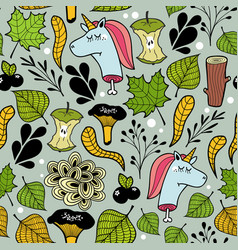 Seamless pattern with unicorns and plants vector
