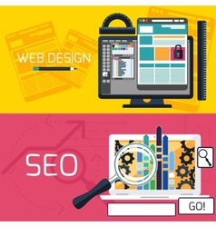 SEO optimization and web design banners vector image