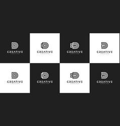 set initials d logo design template vector image