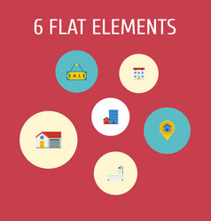 set of property icons flat style symbols with sale vector image