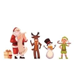 Set of Santa Claus reindeer snowman and elf vector image