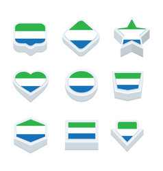 sierra leone flags icons and button set nine vector image