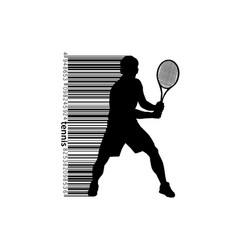 silhouette of a tennis player and barcode vector image