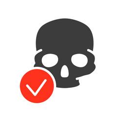 skull with tick checkmark colored icon bone vector image