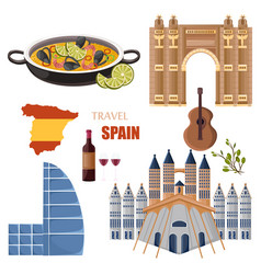 spain main attractions set collection vector image