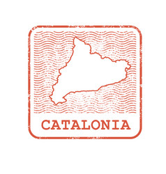 Stamp with contour of map of catalonia vector
