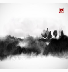 Stylized black ink wash painting with misty forest vector