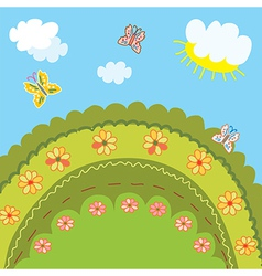 Summer landscape for kids vector image
