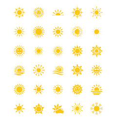 Sun flat icons pack vector