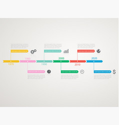 timeline infographics template with stepwise vector image