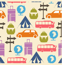 Travel seamless pattern with graphic flat vector