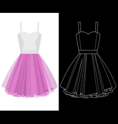 Tutu dress image with white outline silhouette on vector