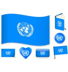 United nations flag wave book circle pin vector