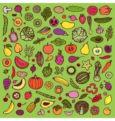 Vegetables and fruits doodle set vector