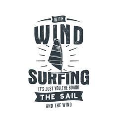 Vintage hand drawn windsurfing kitesurfing tee vector