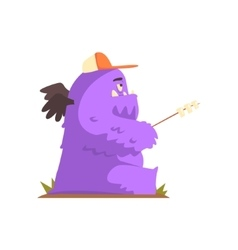 Violet Furry Giant Winged Monster Frying vector