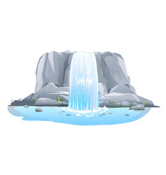 Waterfall in front view isolated vector