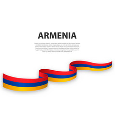 Waving ribbon or banner with flag armenia vector