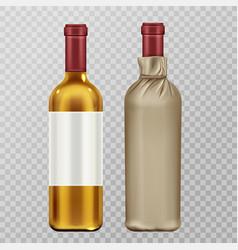 wine bottles in craft paper package mock up set vector image