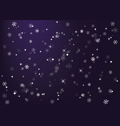 Winter night sky snow is falling showfall vector