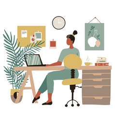 young woman sitting at a laptop and communicates vector image