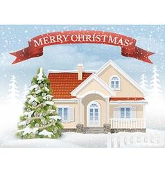 Christmas scene suburban house and fir tree vector