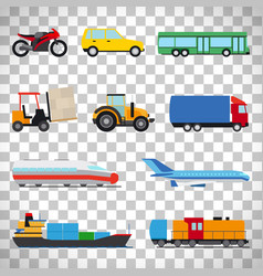 flat car icons on transparent background vector image