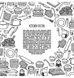 Kitchen utensils and appliance banner vector image vector image