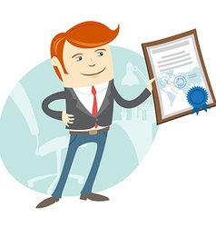 Office man showing a diploma vector image
