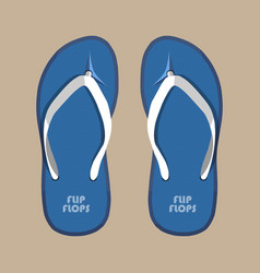 pair of blue summer flip flops rubber shoes vector image