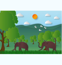 paper art style of landscape with elephant vector image