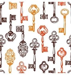 Vintage Key Seamless Pattern vector image
