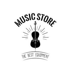 violin in beams music store logo vector image vector image