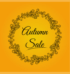 autumn sale banner with wreath vector image