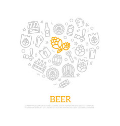 beer thin line icons in heart shape design vector image vector image