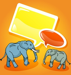 Elephants with speech bubbles vector image vector image
